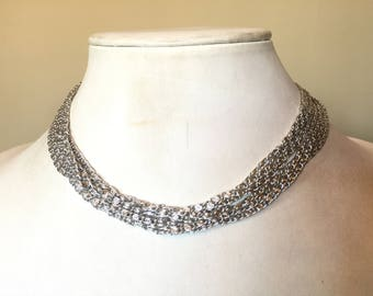Vintage Multi Chain Signed Sarah Coventry Silver Tone Metal Necklace