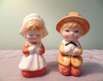 Vintage Lefton Pilgrim Children Salt & Pepper Shaker Set - Lefton Salt Pepper - Salt Pepper Shakers- Pilgrim Children Shakers - Lefton