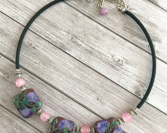 Purple Lampwork necklace Handmade Lampwork jewelry  necklace, statement necklace Glass Beaded Necklace Pastel Lampwork Jewelry Gift for Her