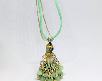 mint green golden jewelry, Doll necklace, beaded doll, long boho necklace, long necklace, gift necklace, friendship necklace