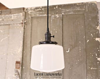 Opal Taper Drum Shade Pendant Light - 8 Inch
