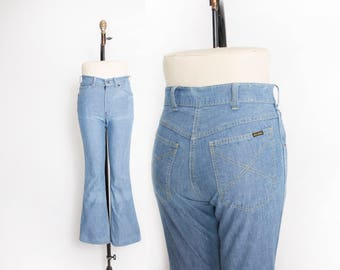 "Vintage 1970s Jeans - Big Yank High Waisted Bell Bottoms - Medium 28 x 30"""