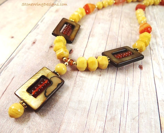 Yellow Jasper, Carnelian and Mother of Pearl Necklace, Jasper and Agate, Rustic Boho Necklace, Southwestern Jewelry, ButterScotch Yellow
