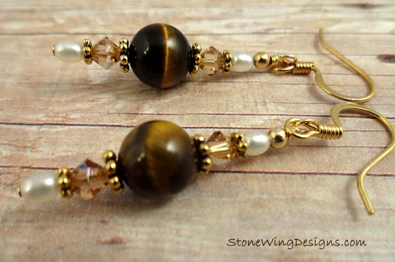 Tigers Eye, White Pearl and Swarovski Crystal Earrings