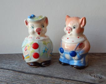 Anthropomorphic Pigs Salt and Pepper Shakers 1950s S & P shakers