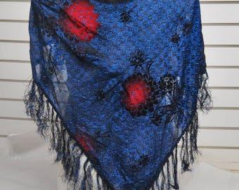 Electric Blue Spalking  Fringed  Shawl  #612