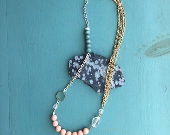 Chain, Crystal, Pearl and Bead Necklace