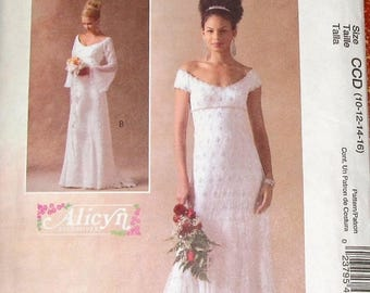 Alicyn Exclusives Sewing Pattern McCall's 4714 Regency Wedding Bridal Dress Gown, Overlay, Godet Train Womens Size 10-16 Bust 32-38 Uncut FF
