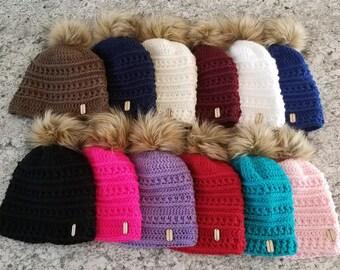 Hand crochet faux fur pom pom hat