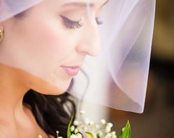 Short Veil, Flyaway Veil, Short Wedding Veil, Short Bridal Veil, Blusher Veil, Shoulder Length Veil, Two Tier Veil, Bachlorette  SARA