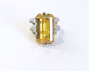 Vintage Sterling Silver Emerald Cut Citrine Yellow Sapphire and Pave Estate Ring Large Stone Yellow Step Cut Cocktail Ring Statement Ring