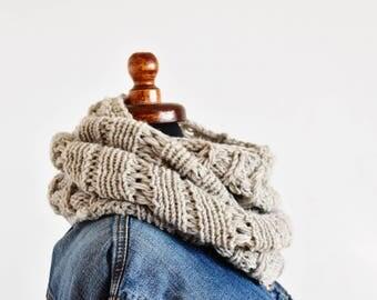Double wrap infinity scarf chunky knit scarf women knit neck warmer braided neck wrap ecru knitted scarf for women merino winter neck wrap