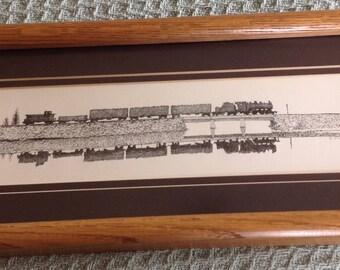 "Railroad art pen & ink drawing of  Sandpoint,Idaho long bridge H.L. Scot III ""Scotty"""