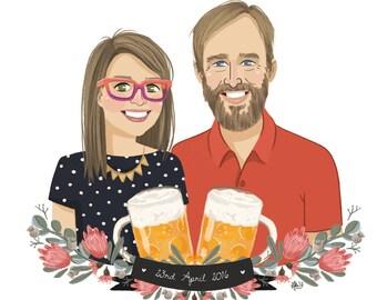 2 People - An illustrated custom portrait of 2 People. Couple, friend, sisters, brothers, custom illustration,