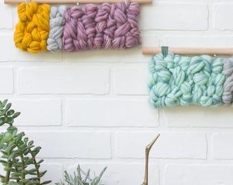 Modern Fiber Art   Horizontal Woven Wall Hanging   Nursery Decor   Weaving