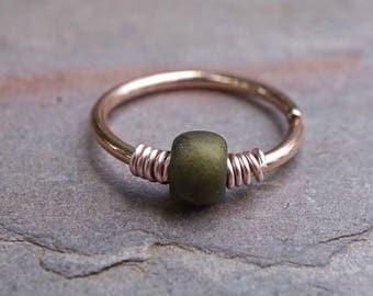 16g 18g 20g Rose Gold Hoop Beaded Olive Green Nose Hoop Nose Ring Cartilage Hoop Tragus Hoop