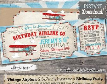 Vintage Airplane Ticket Invitation - INSTANT DOWNLOAD -  Partially Editable & Printable Aeroplane, Airline, Boys Birthday Party Invite