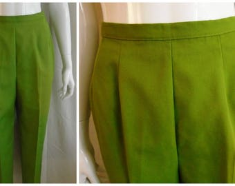 Vintage 1960s Capri Pants Olive Green Twill Cigarette Pants White Stag
