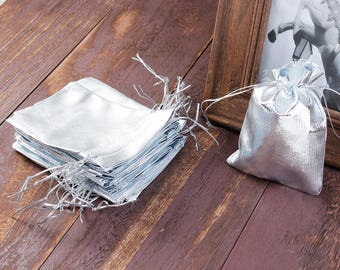 "50 Silver Gift Bags, metallic silver with drawstring, usable space 9x7cm, 3-1/2"" x 2-3/4"" favor bags, bag0061"