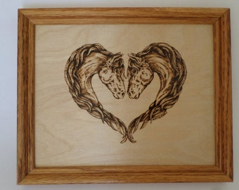 Horse Wood burning art, pyrography, wood wall art, horse art