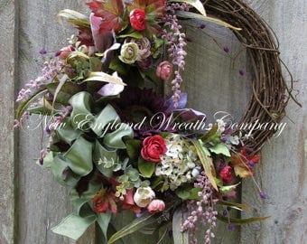 Fall Wreath, Autumn Wreaths, Fall Floral Wreath, Victorian Wreath, Elegant Fall Wreath, Country French Designer Wreath, Sunflower Wreath
