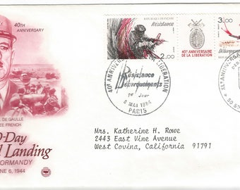 France 6 June 1984 D-Day Anniversary Cached First Day Cover Collectible Stamps