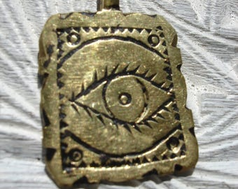 Brass Moroccan double sided  hand engraved square pendant with eye and star