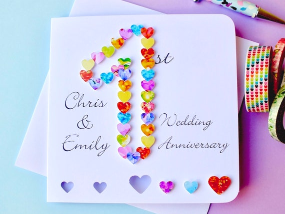 Gift For Husband On 1st Wedding Anniversary: 1st Wedding Anniversary Card Handmade Personalised First