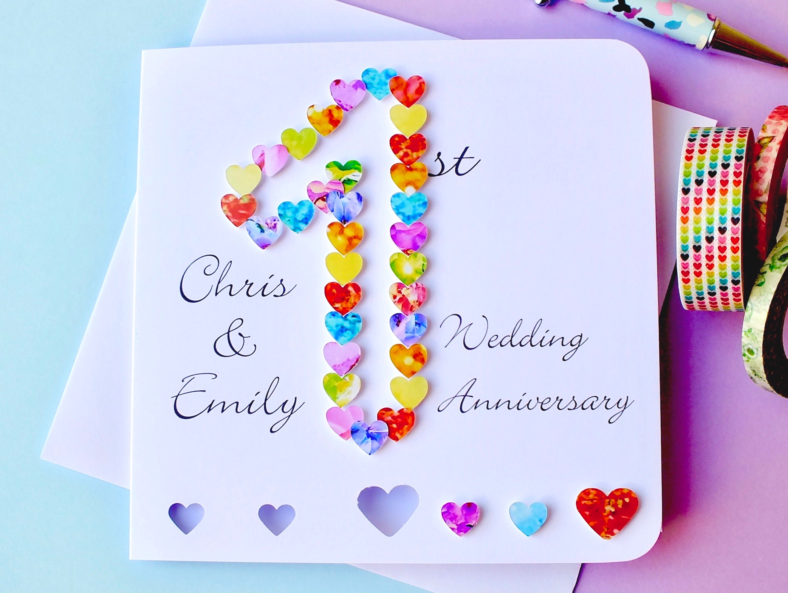 Gifts For 1st Wedding Anniversary: 1st Wedding Anniversary Card Handmade Personalised First