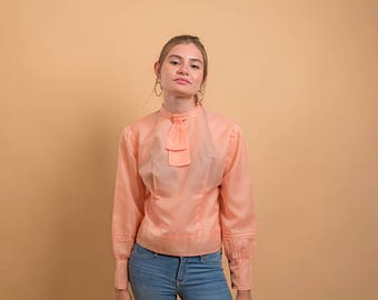 60s Ascot Mod Top / Vintage 60s Poet Sleeve Top / Mod Orange Blouse / Sheer Blouse Δ size: S/M