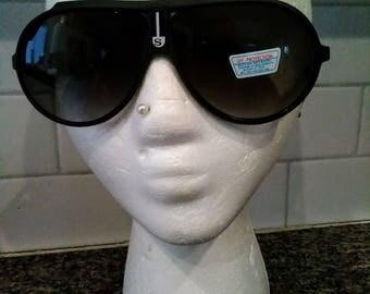 Stevie Wonder Style True Vtg Sport Black Aviators sunglasses 1970s NWT