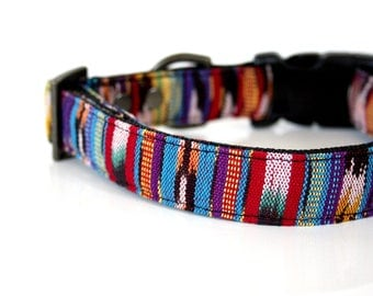 Colorful woven IKAT Dog Collar - red, yellow, purple, black