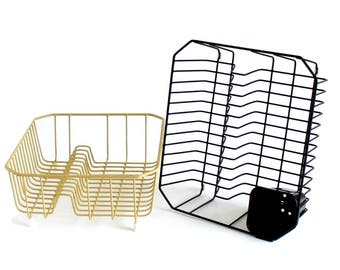 "Vintage Rubbermaid Dish Drying Rack Wire Metal 2913 Harvest Gold 1970s Black 1990s Kitchen (as-is, see ""Item Details"")"