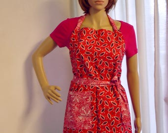 Apron, Full apron, both sides an attractive  abstract paisley red colour