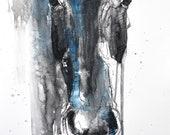 "18"" x 24"" - ""Alert 7t"" Photo print of a Horse Head Drawing"