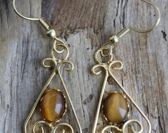 Inventory Reduction Sale Golden Tiger Eye Gold Plated Earrings - Item 1005