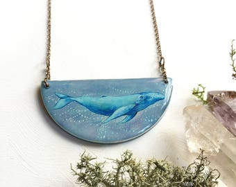 Illustrated Whale Necklace, Bib Necklace from an original painting, Art Jewelry, Blue Whale, Handmade statement jewelry