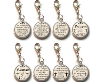 Proverbs 31 Woman, Clip On Charms, Christian, Proverbs 31:25-30, Woman Of God, Religious, Bible Verse, Scripture, Dangle Charm Lobster Clasp