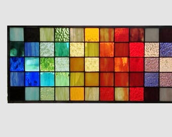 Stained glass window panel geometric rainbow squares stained glass panel window hanging modern abstract transom 0257 22 1/2 x 10 1/2