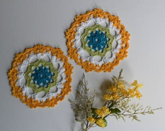 "Small Crochet Doily Pair - Aqua Green and Yellow - Lacy Small Mini 6"" - Set of 2"