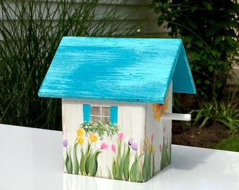 Beach cottage, aqua, rustic decorative birdhouse