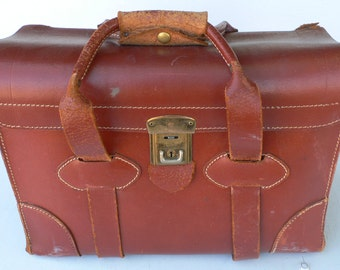 Vintage sample case, brown leather, storage, attache, cowhide, from Diz Has Neat Stuff