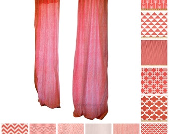 Contemporary Curtains- Pair of Drapery Panels- Coral Curtain Panels- Cafe Curtains- Window Shade- Coral Nursery Curtains- Custom Drapes