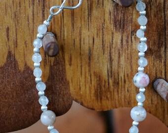 Peruvian Opal, Rose Quartz, and Sterling Silver Bracelet