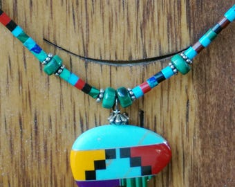 Indian Inlay Bear Pendant with Malachite, Lapis, Agate, Turquoise and Coral