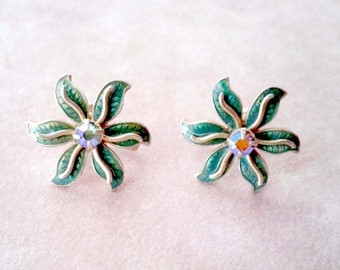 Aurora Borealis Earrings Rhinestones Vintage 1950 Clip Back Style