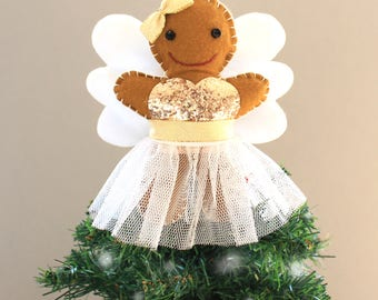 Gingerbread Angel Tree Topper - Christmas Tree Topper - Gingerbread Angel Ornament - Christmas Angel - Tree Topper - Fairy Tree Topper