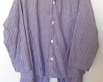 Vintage Pajamas Men's by Towncraft Lounge Set Large Stripes