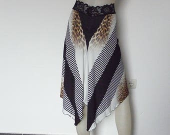 Argentine Tango & Salsa Skirt with Tail US 4 and 6 Milonga Dance Wear amazing Animal Designer  Print Tango Jupe adorable Robe