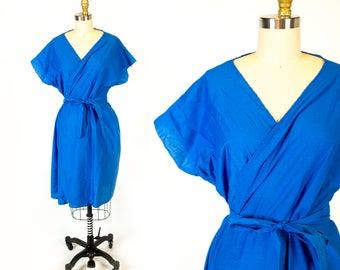 Vintage 1970s Bright Cobalt Blue Kimono Style Short Sleeve Wrap Dress // One Size Fits Most